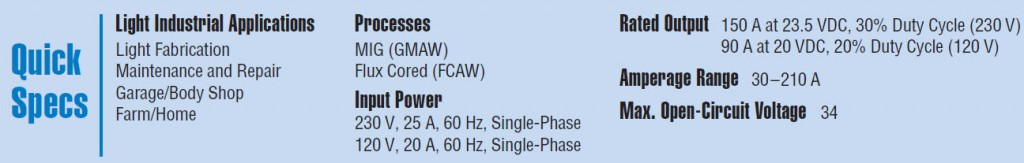 Quick Specs on the Millermatic 211