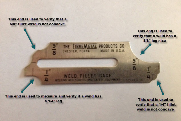A weld fillet gage set will typically include 7 or more pieces similar to this one.