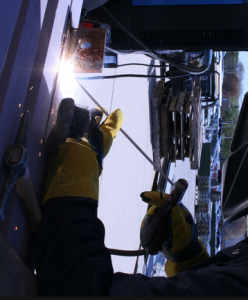 The slag system on stick electrodes allow for great out-of-position welding.