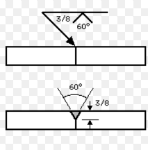 This welding symbols shows a groove angle of 60 degrees and a depth of 3/8.