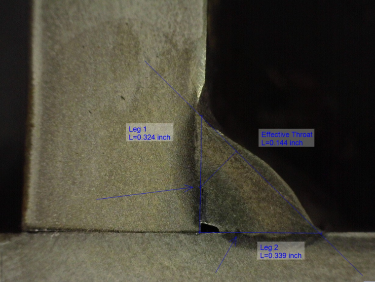 Lack of fusion cannot be detected visually. The image above shows a macroetch of a fillet weld showing that lack of root fusion.