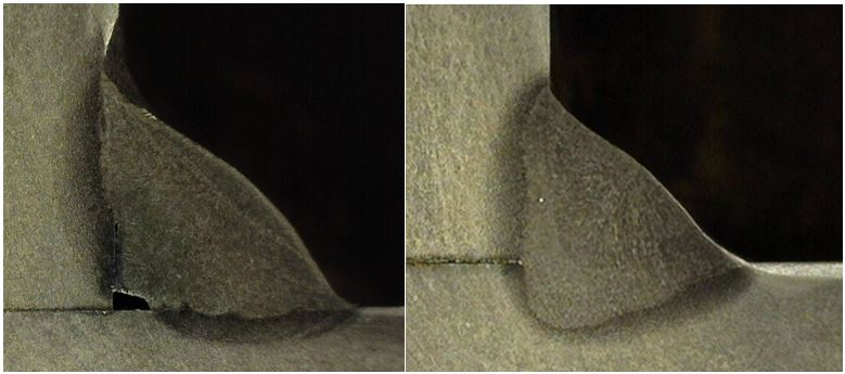 The etched cross section of the short circuit weld (left) shows clear of lack of fusion. The image on the right show the deep penetration associated with spray transfer.