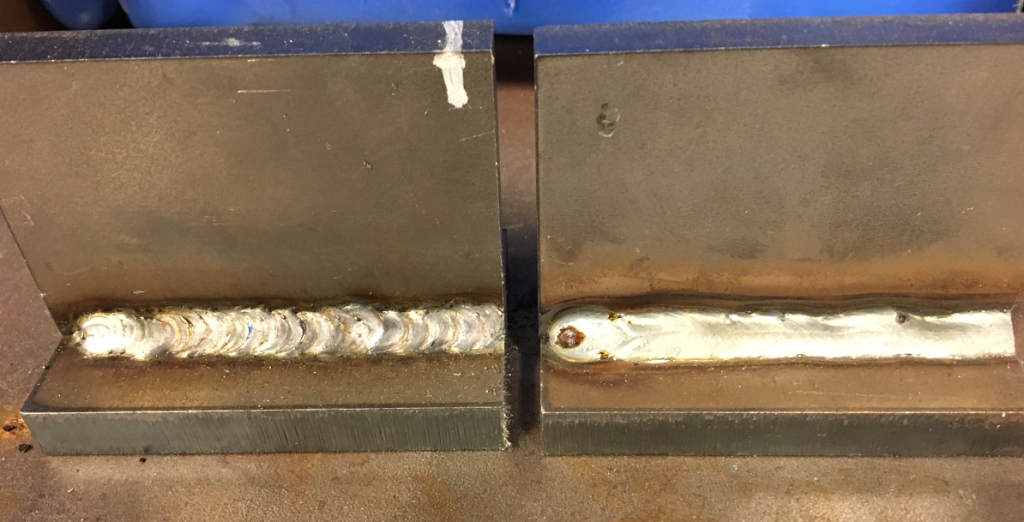 The weld on the left was made using short circuit and by manipulating the electrode motion distinct ripples are formed. The weld on the right was a stringer (no manipulation) made with spray transfer. Both welds were made on 3/8-in plate.