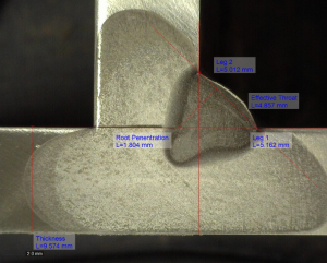 A simple macroetch can provide valuable information as to the reliability of a welding procedure.