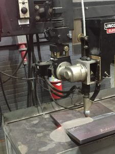 Submerged arc welding is capable of depositing welding metal at over 20 pounds per hours with a single electrode. However, it is limited to the flat and horizontal positions only.