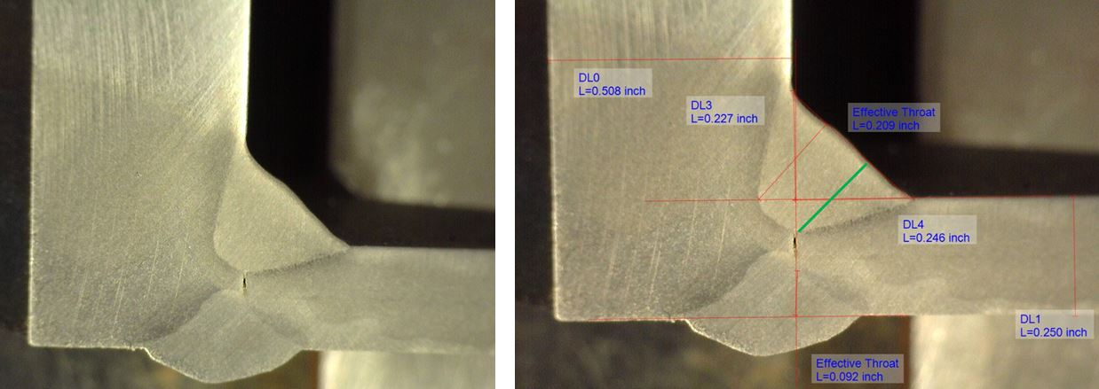 The green line shows the effective throat of the fillet weld.